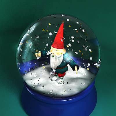 model: A 3D snow globe with a gnome inside