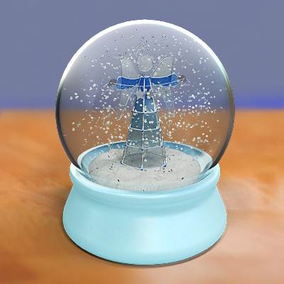 model: A beautiful 3D snow globe with a Christmas angel and a Bethlehem star inside