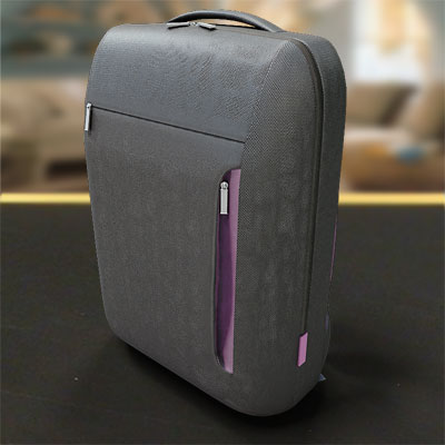 model: 3D High detailed grey backpack with pink finishing