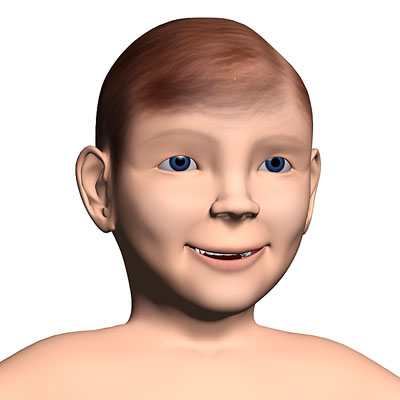 3D model of a White child boy