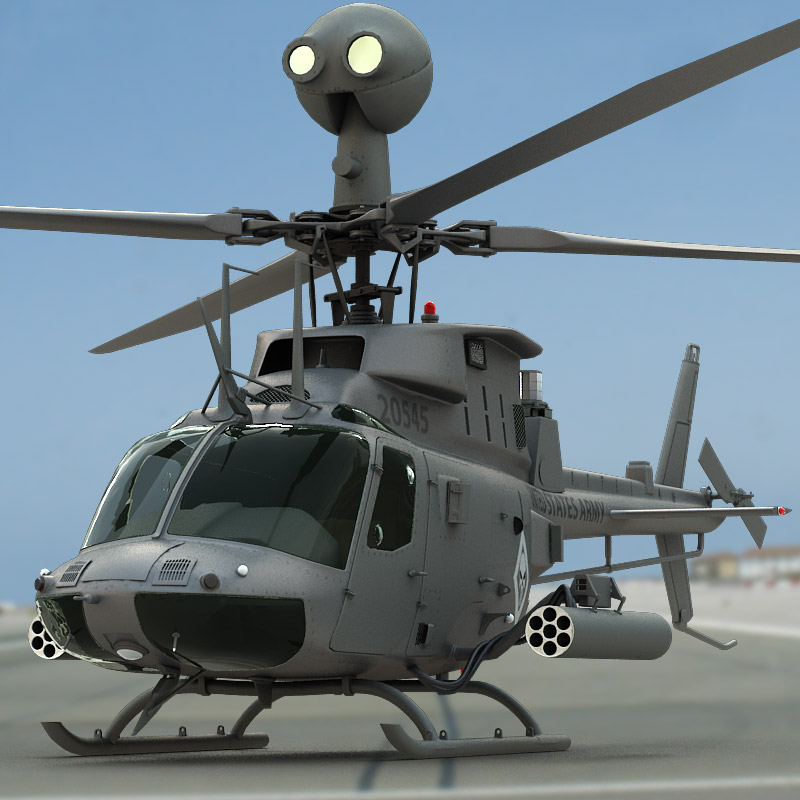 3D model of a OH-58D Kiowa Warrior