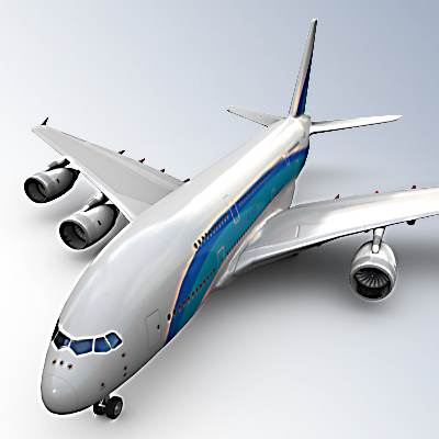 Airbus A380 with blue lines 3D model