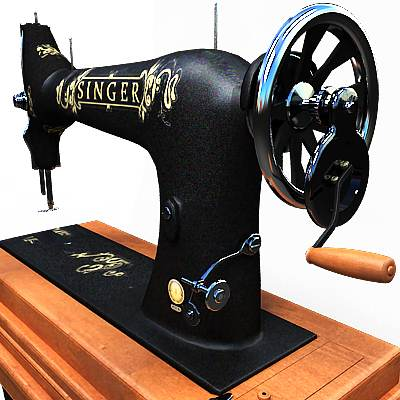 The 3D model of a Foot powered Singer sewing machine