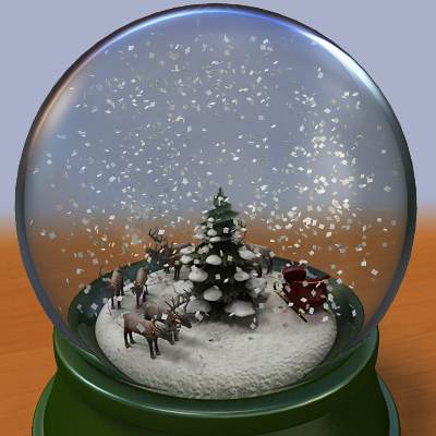 model: A 3D snow globe with Santa's sleigh and reindeers inside
