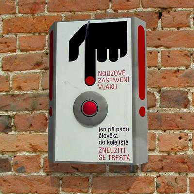 The 3D model of a Emergency button on the wall