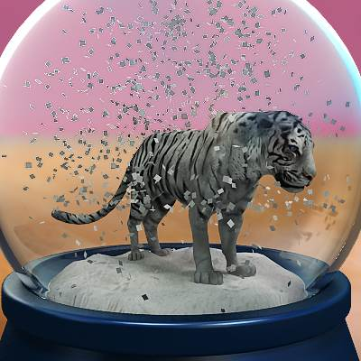 model: A 3D Chinese New Year themed snow globe with a white tiger inside