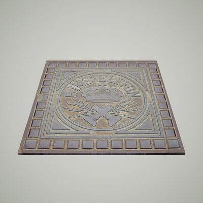 model: 3D square shaped manhole with the crown emblem