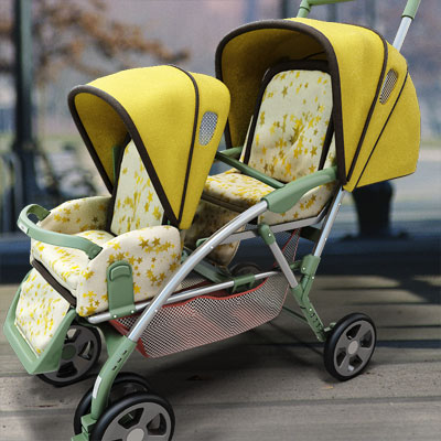 Photorealistic 3D model of a yellow double stroller