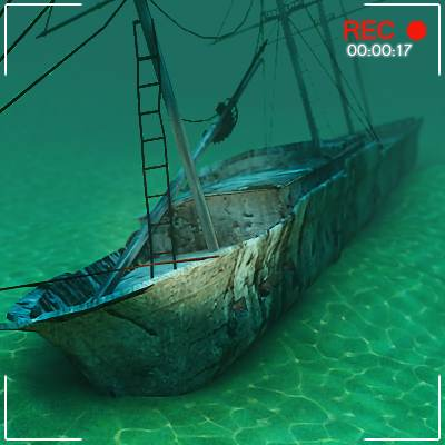 Sunken ship on sea bottom 3D model