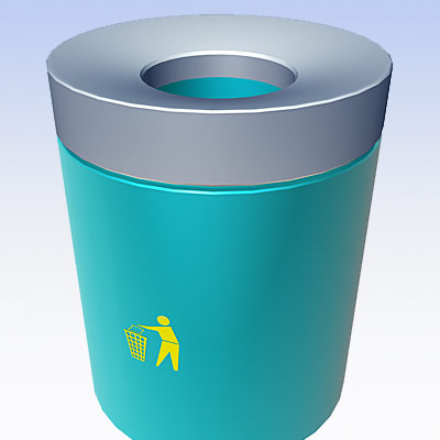 3D model of a garbage can (airport)