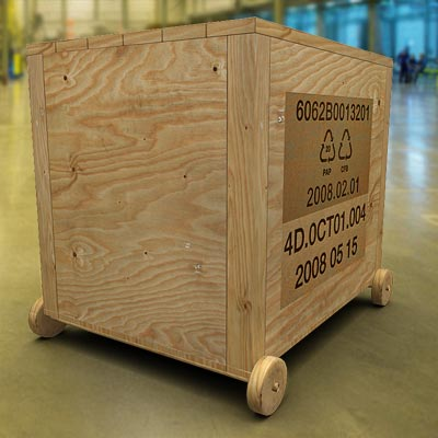 3D model of a heavy-duty wooden shipping box on wheels