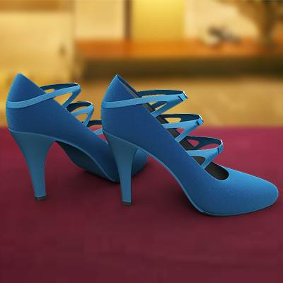 The 3D model of a Blue shoes with high heels