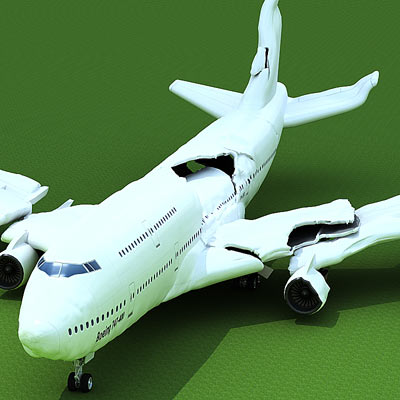3D model of a Crashed plane