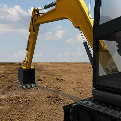 A typical mini hydraulic excavator 3D model