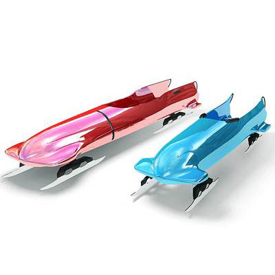 Four-seat and two-seat bobs used for a bobsleigh sports 3D models<br />