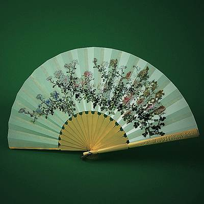 The 3D model of a Japanese hand fan