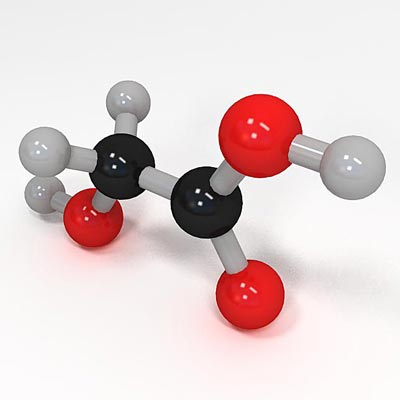 3D model of Glycolic acid molecule