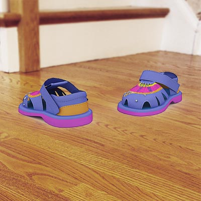 The 3D model of a Blue toddlers' sandals