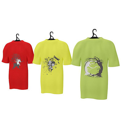 3D model of T shirts on rack