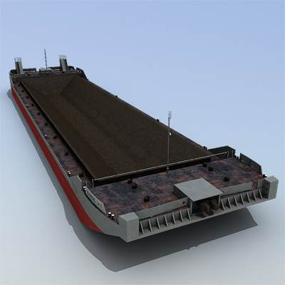An empty barge 3D model