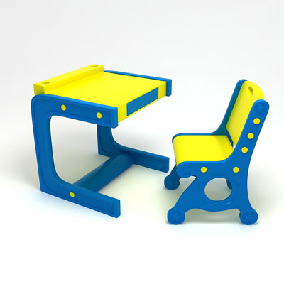 3D model of a Kid's table with chair