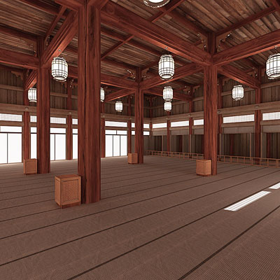 3D model of a Japanese temple interior