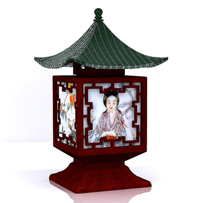3D model of a Chinese lamp