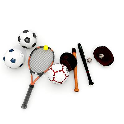 The 3D model of a Sports equipment collection