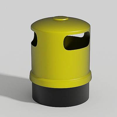 The 3D model of a yellow rubbish bin