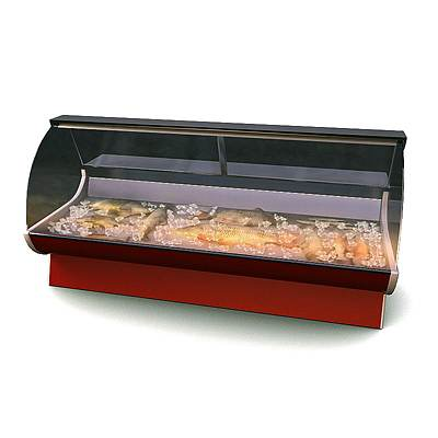 model: A 3D display freezer used in supermarkets and food stores. (with fish)