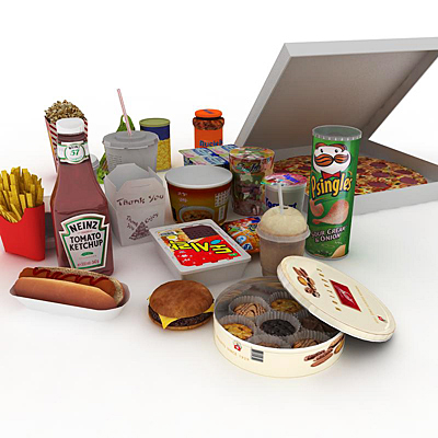 3D model of Food package all in one