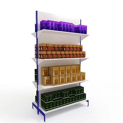 3D model: Grocery shop display shelves (with tea and coffee)