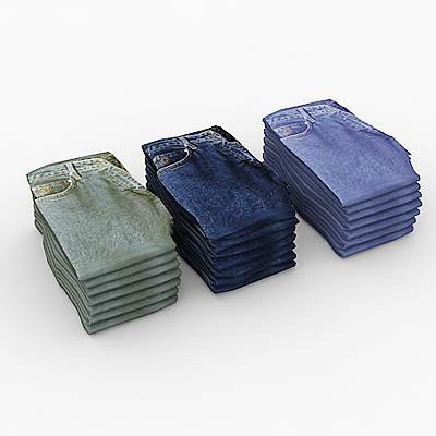 model: Three 3D piles of folded jeans