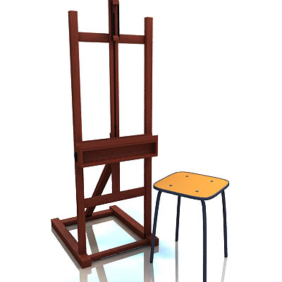 3D model of an easel and chair