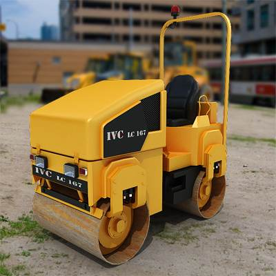 A typical asphalt compactor 3D model