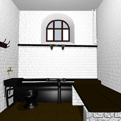The 3D model of black and white prison cell