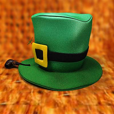 3D model: Saint Patrick's day pipe with clover and green hat
