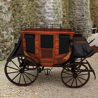 A game ready 3D model of a horse drawn carriage