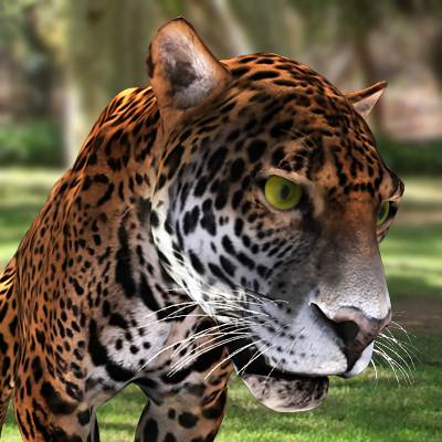 A photorealistic 3D model of a common jaguar