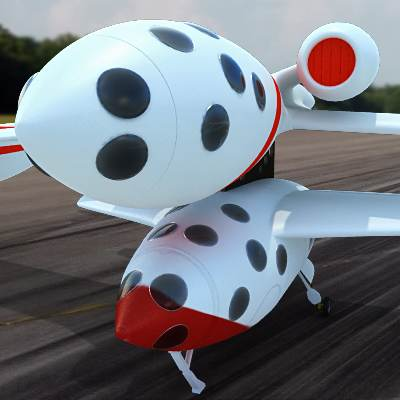 White knight aircraft carrying SpaceShipOne spacecraft 3D models