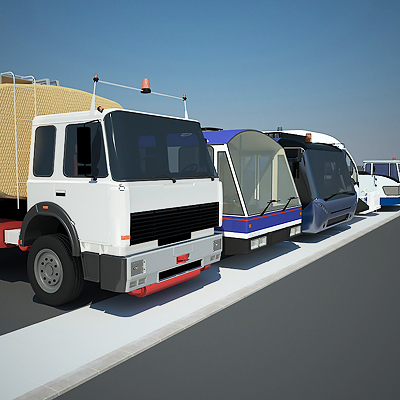 3D model of a Large airport vehicles collection