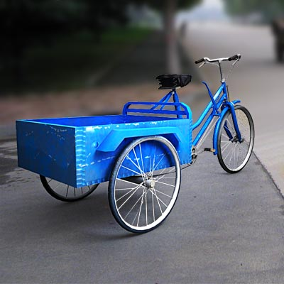3D model of a Chinese bicycle with trailer