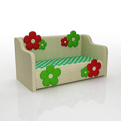 The 3D model of a Nice kid's sofa