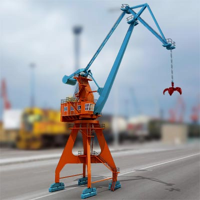 3D model of a Level luffing harbor crane