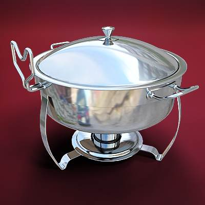 model: 3D round chafing dish made of metal