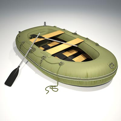 3D model of an inflatable fishing boat