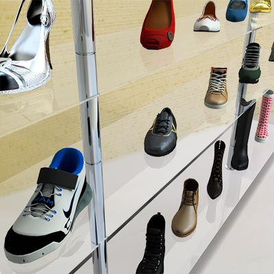 The 3D model of a Glass display rack with shoes on it