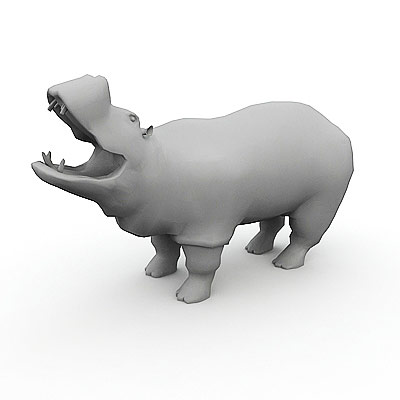 3D model of a hippopotamus