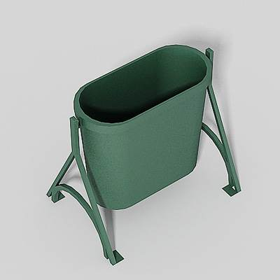 The 3D model of a green-grey trash can on feet