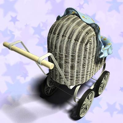 Nice toy baby carriage 3D model